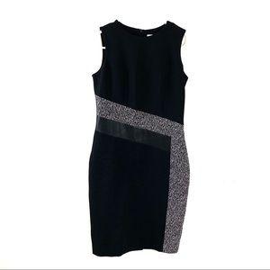 Calvin Klein Sheath Dress Sleeveless Black White
